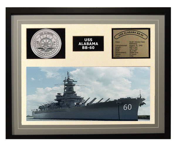 USS Alabama  BB 60  - Framed Navy Ship Display Grey