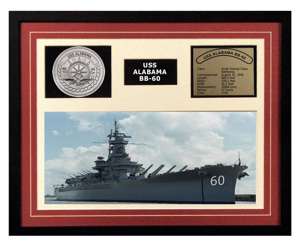 USS Alabama  BB 60  - Framed Navy Ship Display Burgundy