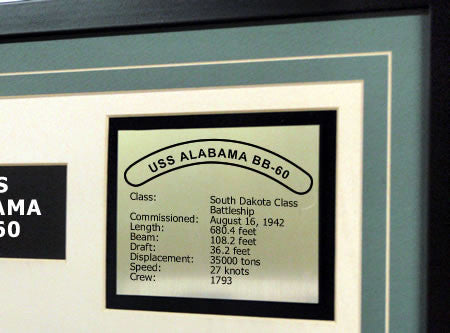 USS Alabama BB60 Framed Navy Ship Display Text Plaque
