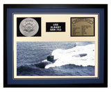 USS Albany  SSN 753  - Framed Navy Ship Display Blue