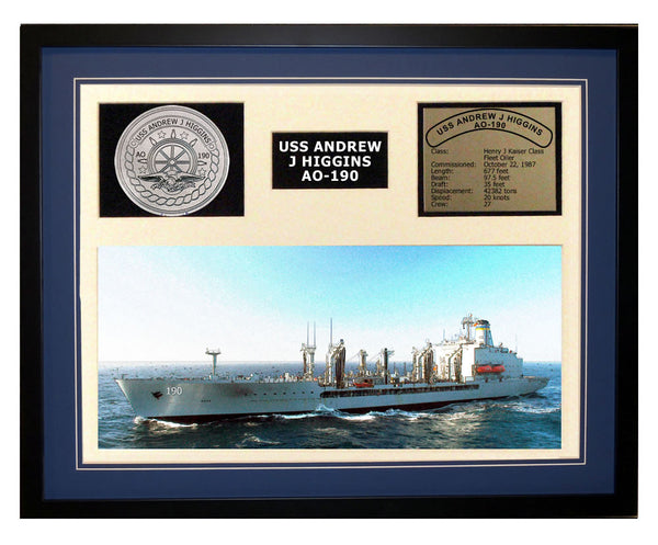 USS Andrew J Higgins  AO 190  - Framed Navy Ship Display Blue