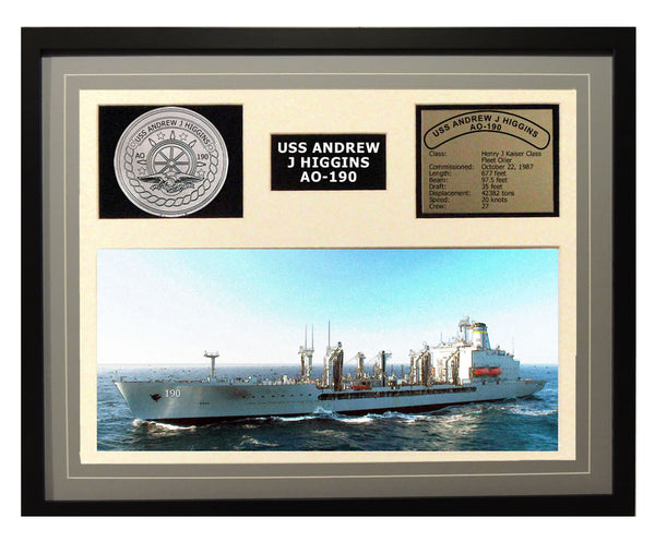 USS Andrew J Higgins  AO 190  - Framed Navy Ship Display Grey