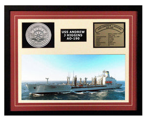 USS Andrew J Higgins  AO 190  - Framed Navy Ship Display Burgundy