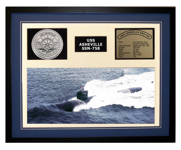 USS Asheville  SSN 758  - Framed Navy Ship Display Blue
