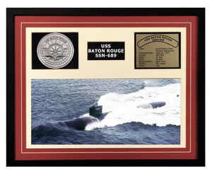 USS Baton Rouge  SSN 689  - Framed Navy Ship Display Burgundy