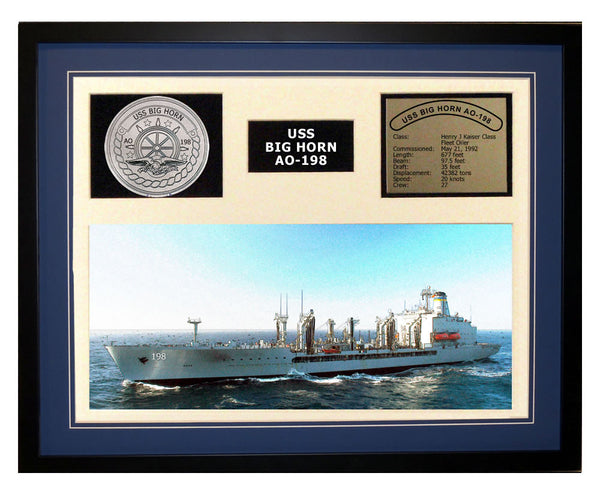 USS Big Horn  AO 198  - Framed Navy Ship Display Blue