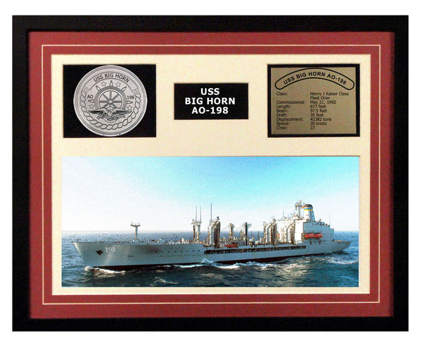USS Big Horn  AO 198  - Framed Navy Ship Display Burgundy