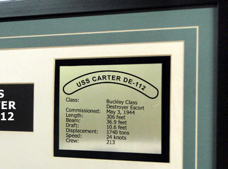 USS Carter DE112 Framed Navy Ship Display Text Plaque