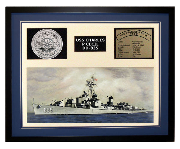 USS Charles P Cecil  DD 835  - Framed Navy Ship Display Blue