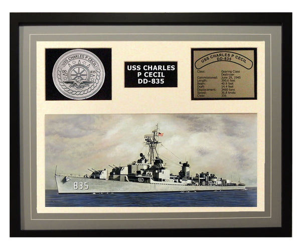 USS Charles P Cecil  DD 835  - Framed Navy Ship Display Grey