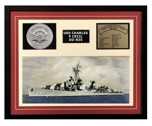 USS Charles P Cecil  DD 835  - Framed Navy Ship Display Burgundy