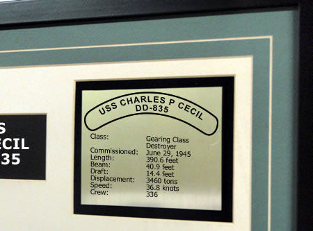 USS Charles P Cecil DD835 Framed Navy Ship Display Text Plaque
