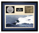 USS Cincinnati  SSN 693  - Framed Navy Ship Display Blue
