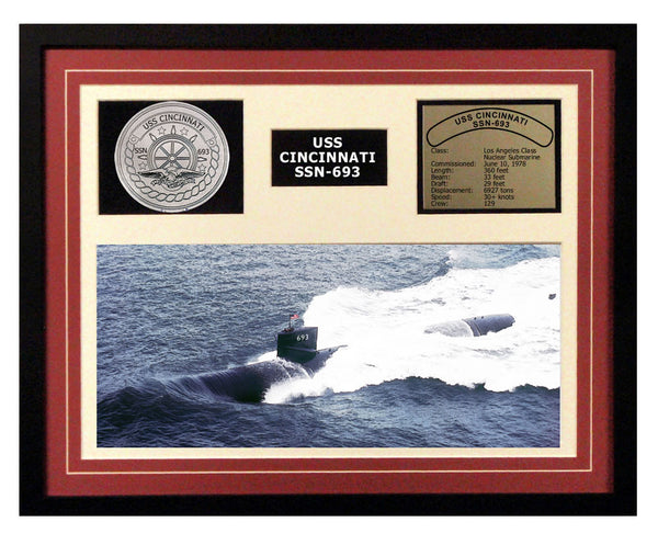 USS Cincinnati  SSN 693  - Framed Navy Ship Display Burgundy