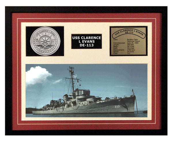 USS Clarence L Evans  DE 113  - Framed Navy Ship Display Burgundy