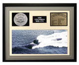 USS Columbia  SSN 771  - Framed Navy Ship Display Grey