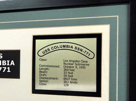 USS Columbia SSN771 Framed Navy Ship Display Text Plaque