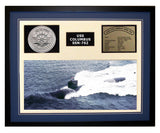 USS Columbus  SSN 762  - Framed Navy Ship Display Blue