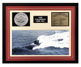USS Columbus  SSN 762  - Framed Navy Ship Display Burgundy