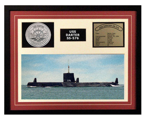 USS Darter  SS 576  - Framed Navy Ship Display Burgundy