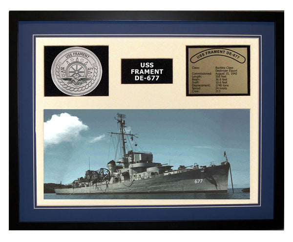 USS Frament  DE 677  - Framed Navy Ship Display Blue