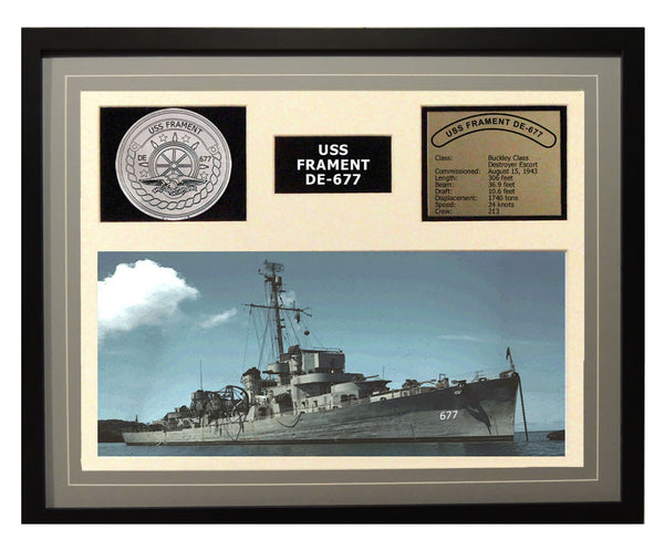 USS Frament  DE 677  - Framed Navy Ship Display Grey