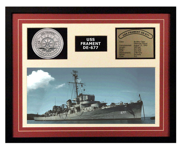 USS Frament  DE 677  - Framed Navy Ship Display Burgundy