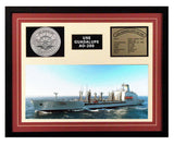 USS Guadalupe  AO 200  - Framed Navy Ship Display Burgundy
