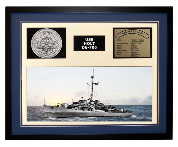 USS Holt DE 706 - Framed Navy Ship Display Blue
