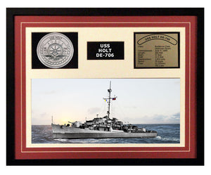USS Holt DE 706 - Framed Navy Ship Display Burgundy