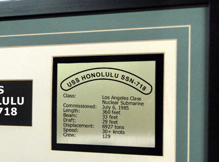 USS Honolulu SSN718 Framed Navy Ship Display Text Plaque
