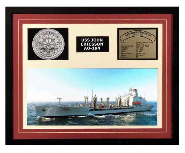 USS John Ericsson  AO 194  - Framed Navy Ship Display Burgundy