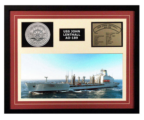 USS John Lenthall  AO 189  - Framed Navy Ship Display Burgundy