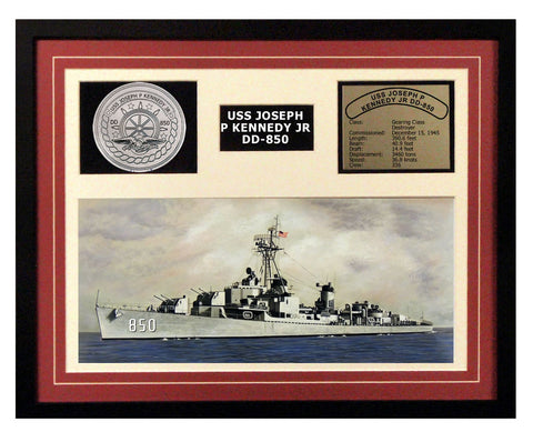 USS Joseph P Kennedy Jr  DD 850  - Framed Navy Ship Display Burgundy