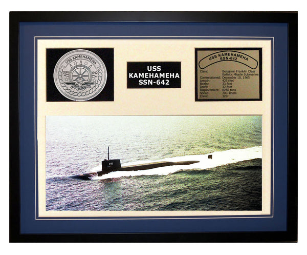 USS Kamehameha  SSN 642  - Framed Navy Ship Display Blue