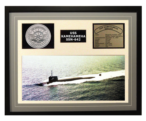 USS Kamehameha  SSN 642  - Framed Navy Ship Display Grey