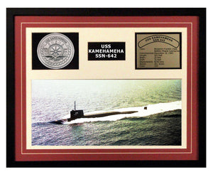 USS Kamehameha  SSN 642  - Framed Navy Ship Display Burgundy