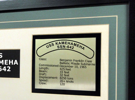 USS Kamehameha SSN642 Framed Navy Ship Display Text Plaque