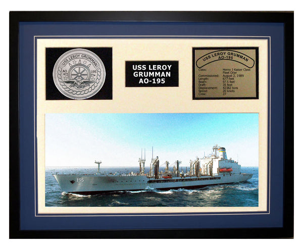 USS Leroy Grumman  AO 195  - Framed Navy Ship Display Blue