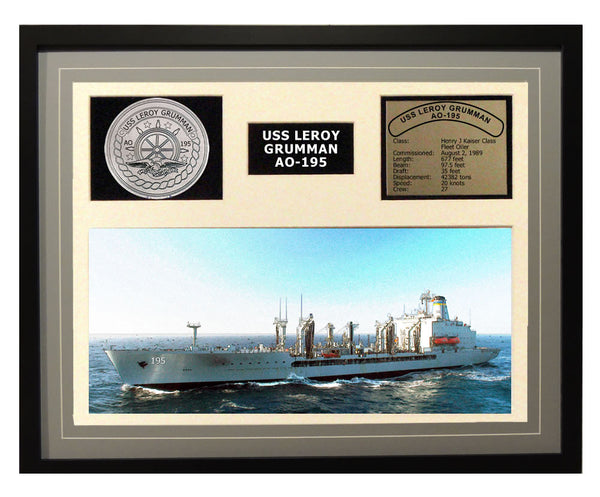 USS Leroy Grumman  AO 195  - Framed Navy Ship Display Grey