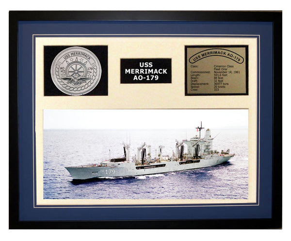 USS Merrimack  AO 179  - Framed Navy Ship Display Blue