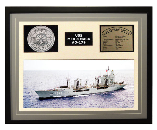 USS Merrimack  AO 179  - Framed Navy Ship Display Grey