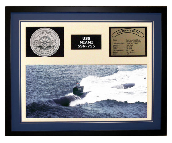 USS Miami  SSN 755  - Framed Navy Ship Display Blue