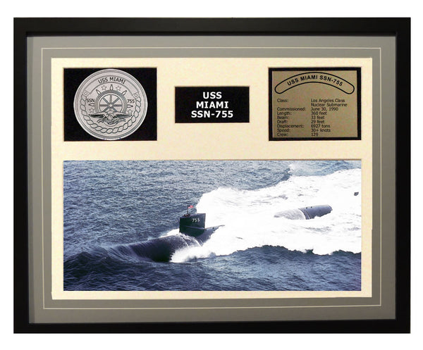 USS Miami  SSN 755  - Framed Navy Ship Display Grey