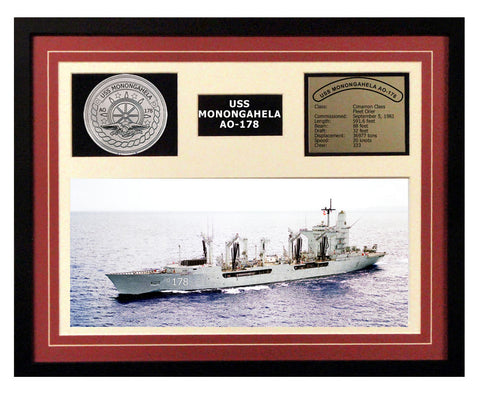 USS Monongahela  AO 178  - Framed Navy Ship Display Burgundy