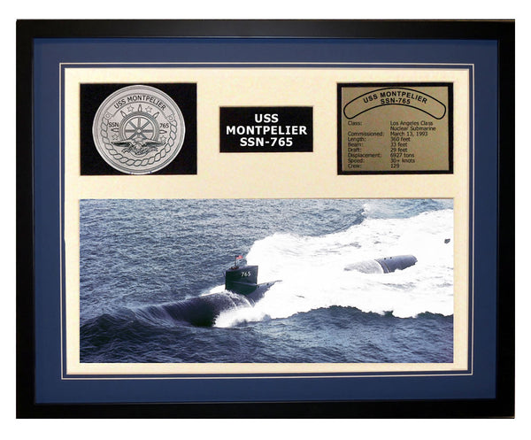 USS Montpelier  SSN 765  - Framed Navy Ship Display Blue