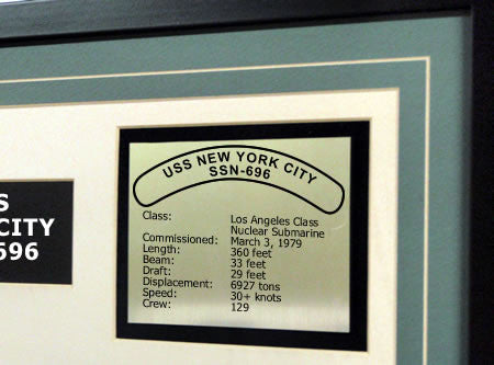 USS New York City SSN696 Framed Navy Ship Display Text Plaque