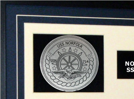 USS Norfolk SSN714 Framed Navy Ship Display Crest