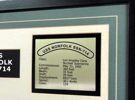 USS Norfolk SSN714 Framed Navy Ship Display Text Plaque