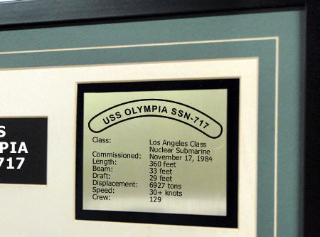 USS Olympia SSN717 Framed Navy Ship Display Text Plaque